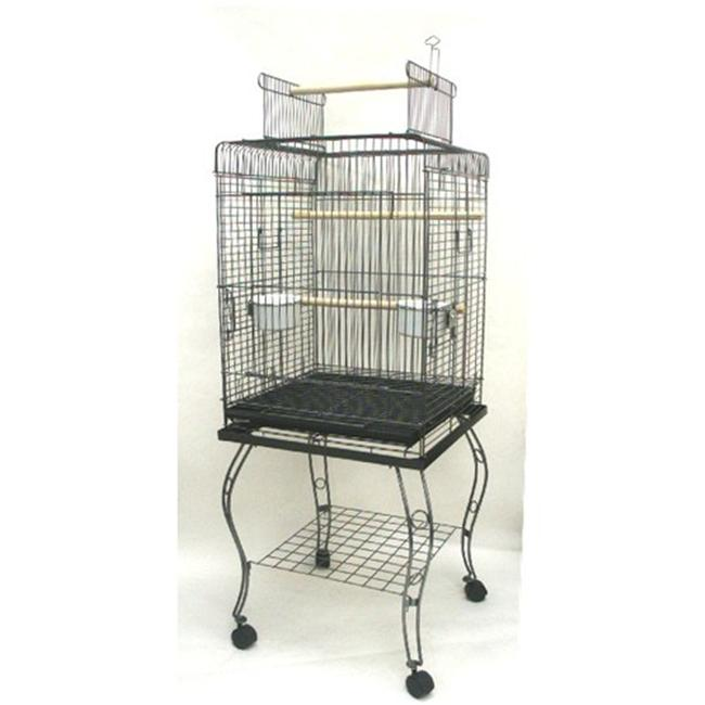 YML 600HAS Open Top Parrot Cage with Stand in Antique Silver
