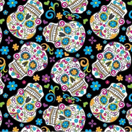 Black Folkloric Skulls Day of the Dead Fleece Fabric - Style# 2888-3 - Free Shipping!