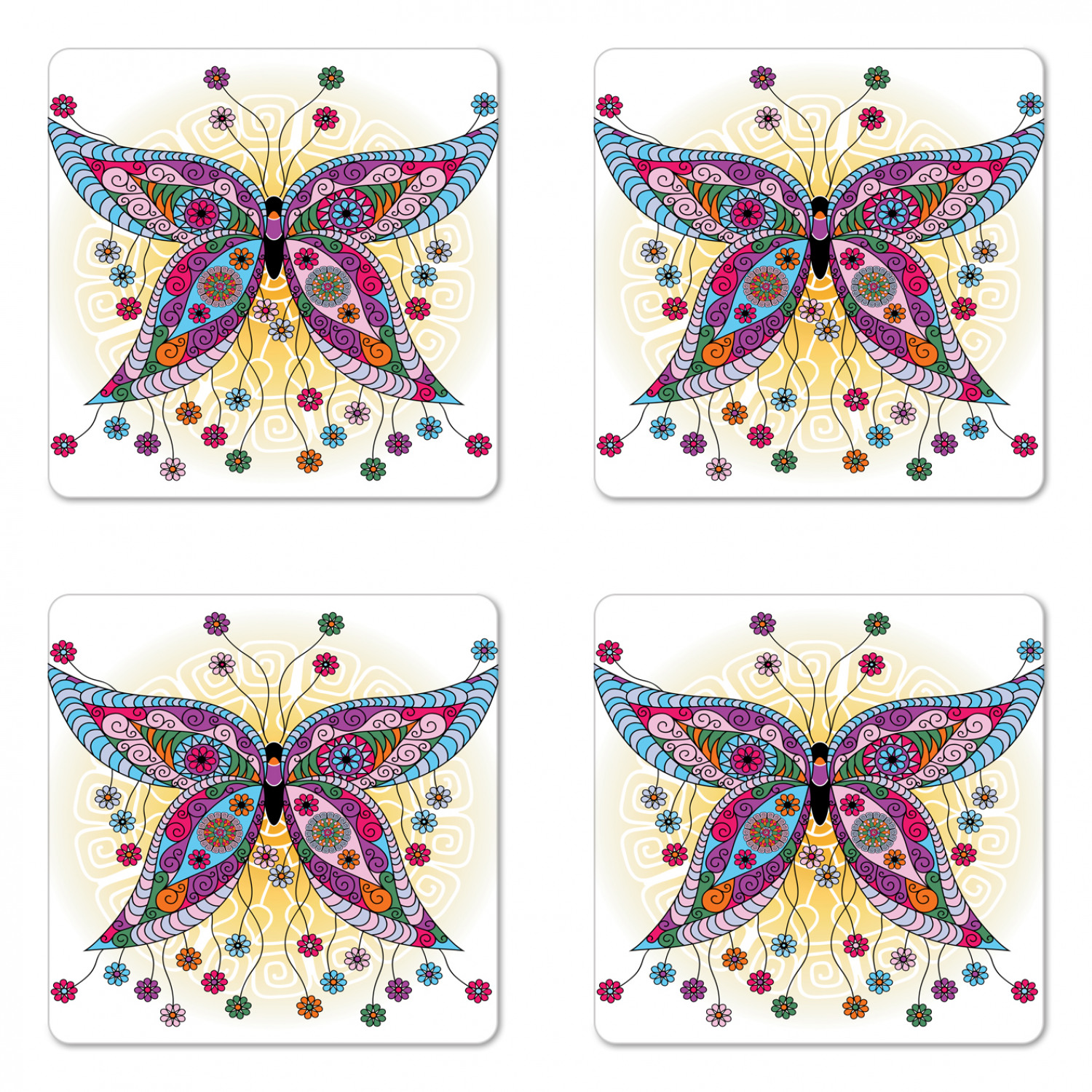 Butterfly Coaster Set Of 4 Moth With Fantasy Spring Floral Blooms On Sunny Backdrop Image Square Hardboard Gloss Coasters Standard Size Multicolor By Ambesonne Walmart Com Walmart Com