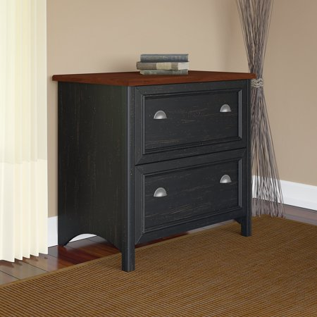 Bush Furniture Stanford Lateral File Cabinet in Antique Black