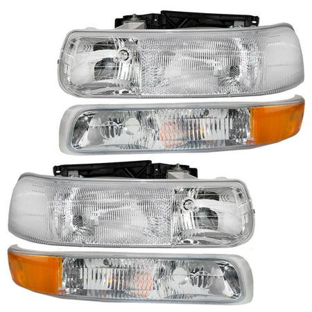 BROCK Headlights w/ Signal Side Marker Lamps New 4 Piece Set for Chevrolet Silverado Suburban (Suburban 80 Signal Light)