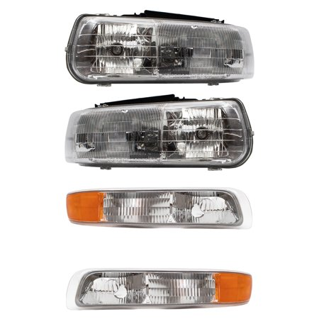 BROCK Headlights w/ Signal Side Marker Lamps New 4 Piece Set for Chevrolet Silverado Suburban (2000 Chevrolet Suburban)