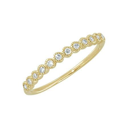 (14K Yellow Gold White Diamond Milgrain Bezel Set Round Anniversary Band)