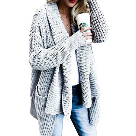 a62271717 Sexydance - Women s Knitted Sweater Long Sleeve Cardigan Knitwear Jumper  Oversized Outwear Coat Jacket - Walmart.com