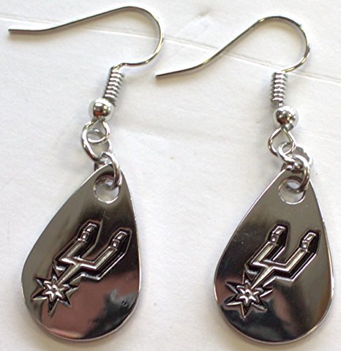 NBA Licensed Silver Tone Tear Drop Dangle Earrings (San Antonio Spurs)