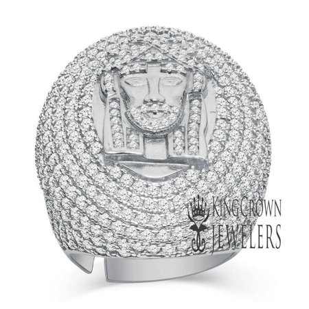 Big Bold Mens 10K White Gold On Real Sterling Silver Jesus Face Dome Pinky Ring Simulated Diamonds Band
