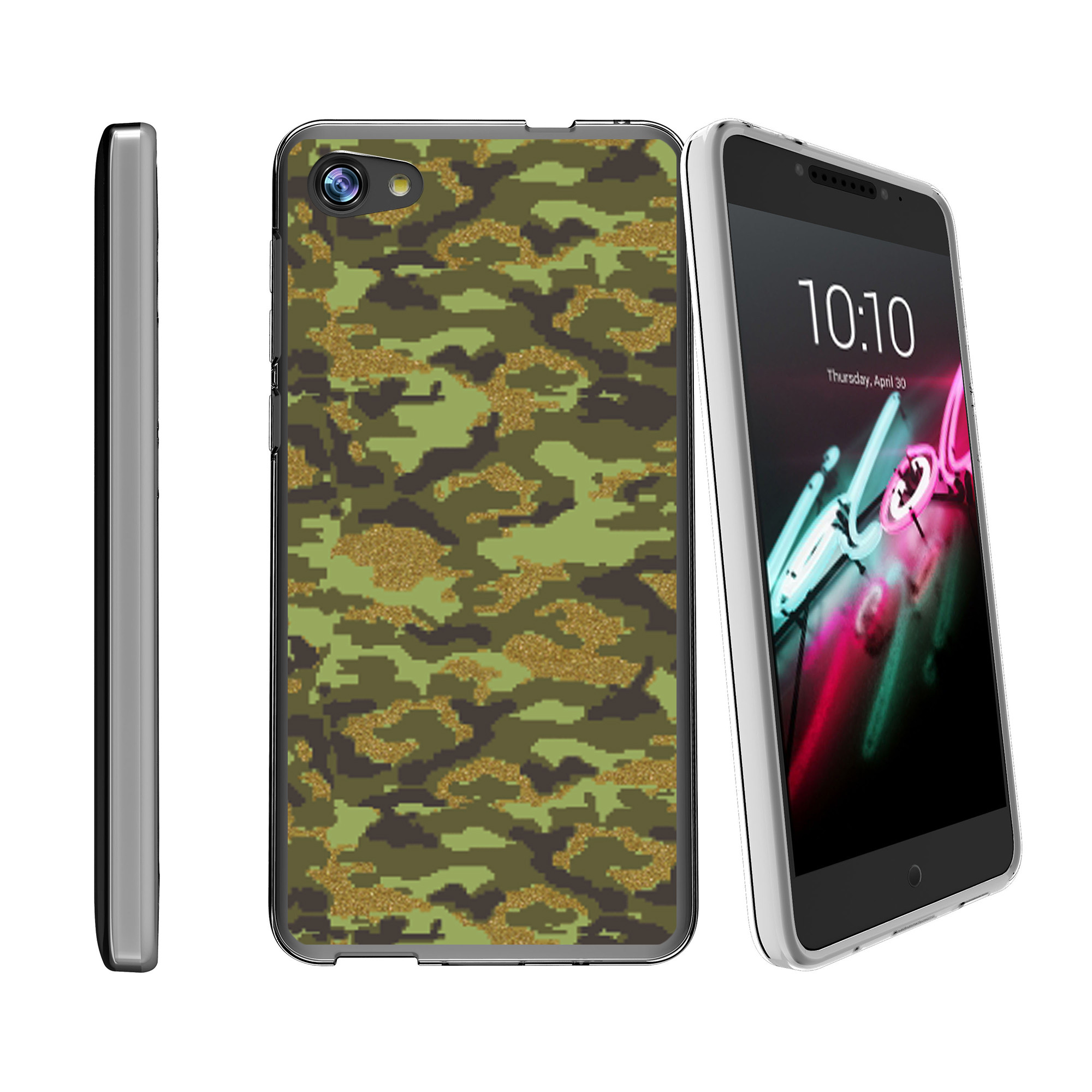 Flexible Case for Alcatel Crave Pulse | Crave Pulse Case [ Flex Force ] Lightweight Flexible Phone Case - Green Digital Camo