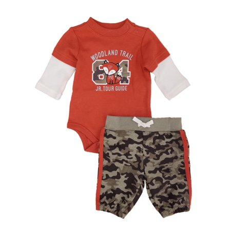 Infant Boys Fox Baby Outfit Camo Pants & Orange Woodland Trail Bodysuit Set