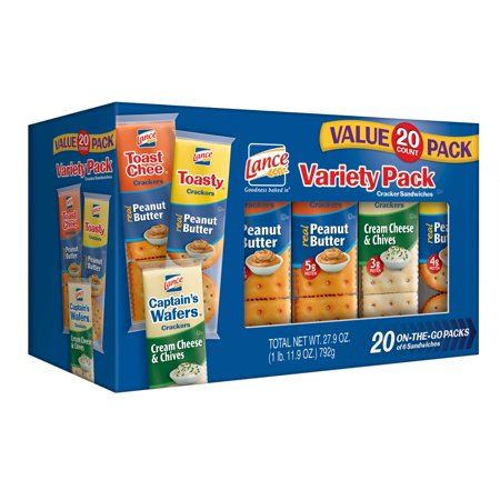 Lance Sandwich Crackers Variety Pack, 20 Count - Clackers For Sale
