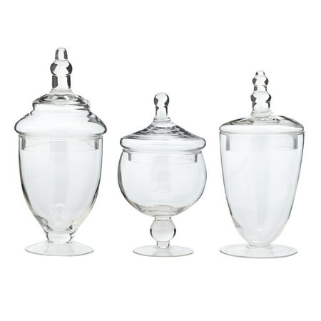 Apothecary Jars, Assorted Set of 3 (16 oz, 20 oz, and 24 oz)
