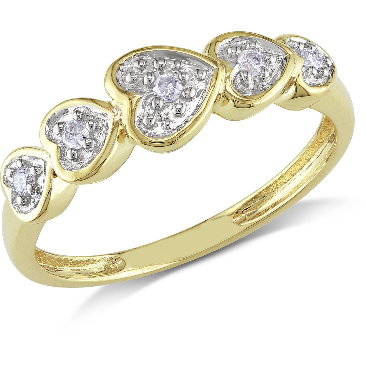 Miabella Diamond-Accent Layers of Hearts 10kt Yellow Gold Ring