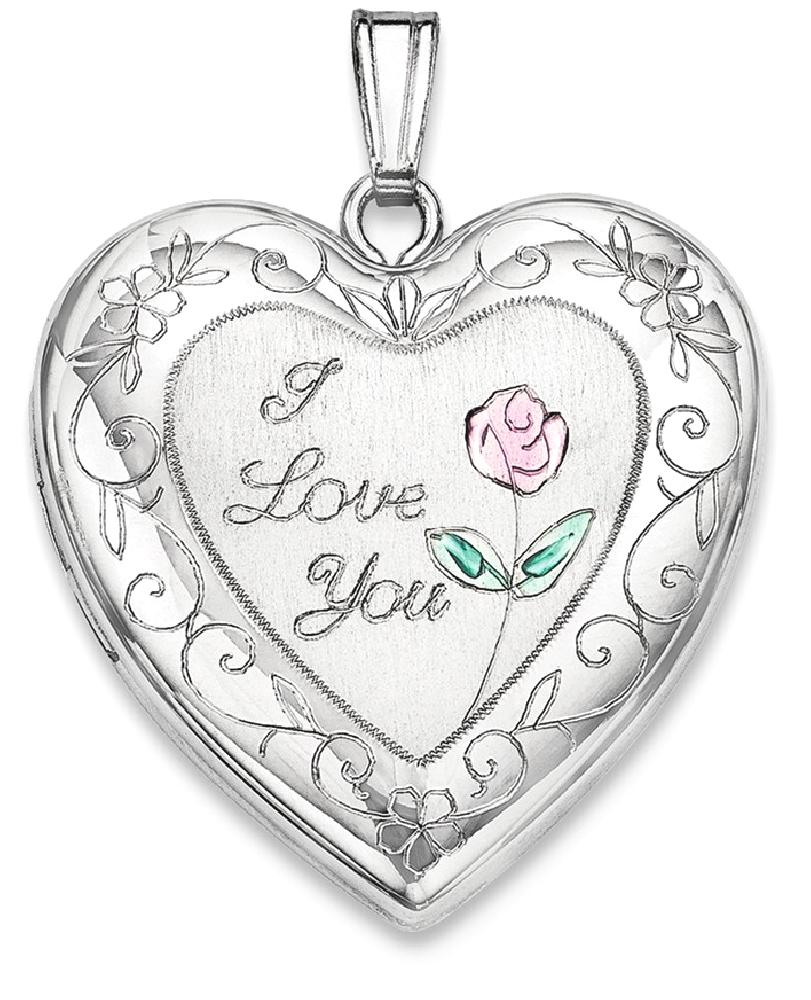 ICE CARATS ICE CARATS 925 Sterling Silver 24mm Enameled Rose Border Heart Photo Pendant Charm Locket Chain Necklace That... by IceCarats Designer Jewelry Gift USA