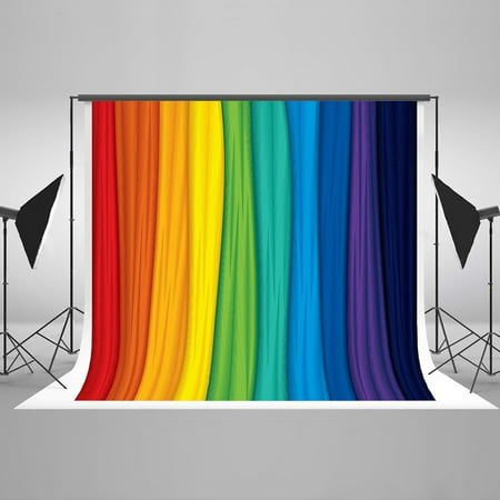 GreenDecor Polyster Photography Backdrop 7x5ft Rainbow Photo Background Curtain for Baby Birthday Photography Background Kids Photo Studio Props - Prom Backgrounds