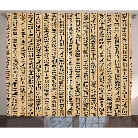 Egyptian Curtains 2 Panels Set, Ancient Hieroglyphs Grunge Pattern on Stripes Archeology History Language, Window Drapes for Living Room Bedroom, 108W X 108L Inches, Sand Brown Black, by Ambesonne (Egyptian Panel)