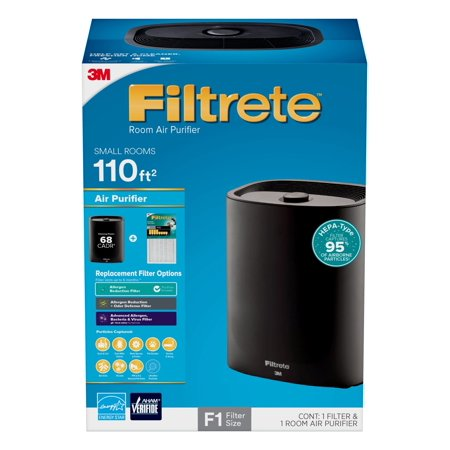 Filtrete by 3M Room Air Purifier, Console, 110 SQ Ft coverage, Black, HEPA-Type Allergen Filter Included