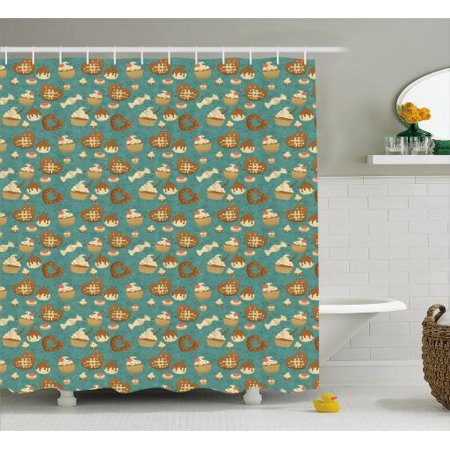 Dessert Shower Curtain Heart Shapes Dominated Patisserie Pattern Cookies Cupcakes And Candies Fabric Bathroom