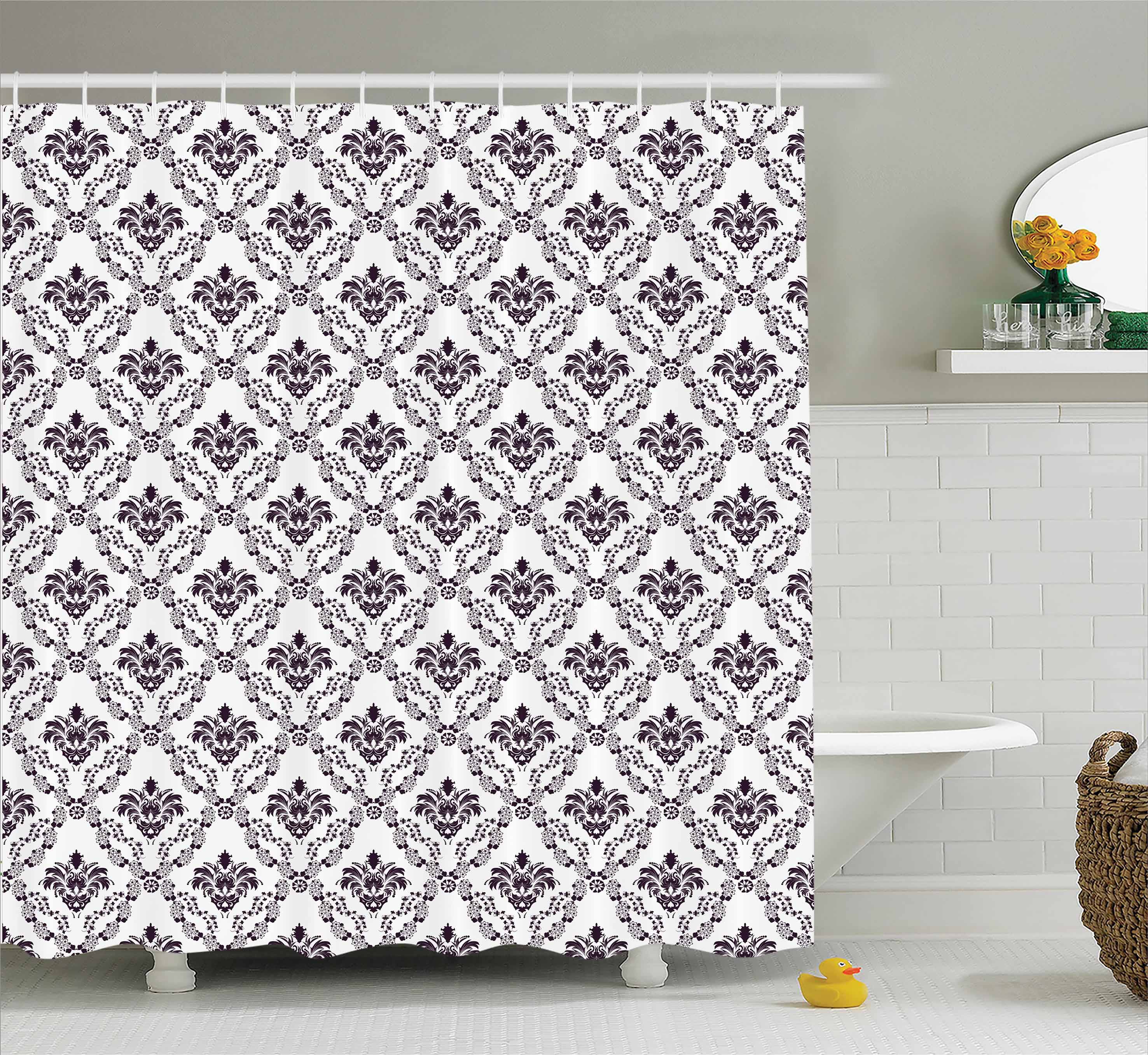 Damask Shower Curtain Set, Traditional Complex Chained Double Face Damask  Lines Internal Patterning Illustration, Bathroom Decor, Brown White, By  Ambesonne ...