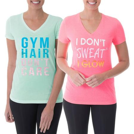 Danskin Now Women's Active Fitspiration V-Neck Graphic T-Shirt, 2 Pack Value Bundle