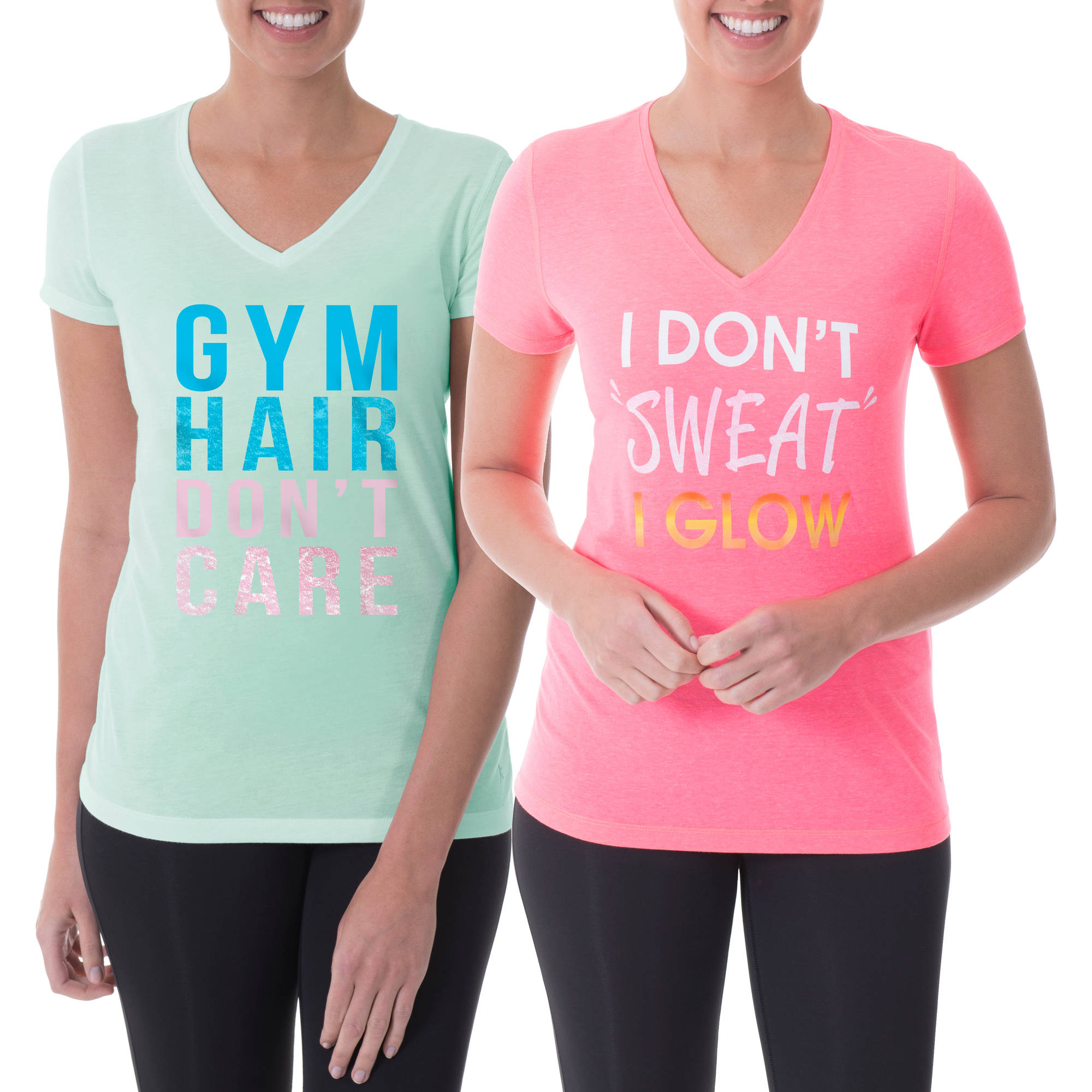 Danskin Now Women's Active Fitspiration V-Neck Graphic T-Shirt, 2 Pack Value Bundle