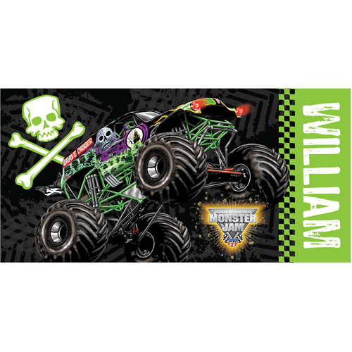 Personalized Monster Jam Grave Digger Kids Beach Towel