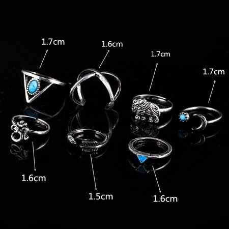 7 Pcs Women Stylish Bohemian Style Ring Retro Elegant Ring Ornament - image 4 of 7