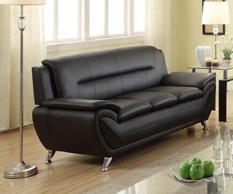 Norton Black Faux Leather Modern Living Room  Sofa