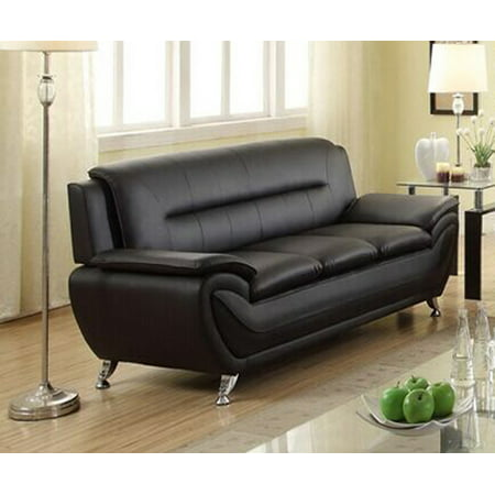 Norton Black Faux Leather Modern Living Room Sofa Walmart Com
