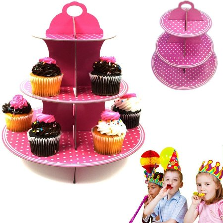 Dazzling Toys 3 Tier Cupcake Stand Holder Set Pink Polka Dot Party - 3 Tier Cupcake Stand