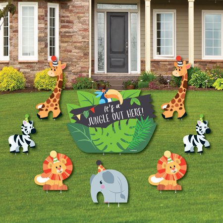 Jungle Party Animals - Yard Sign & Outdoor Lawn Decor - Safari Zoo Animal Birthday Party or Baby Shower Yard Signs- 8 Ct