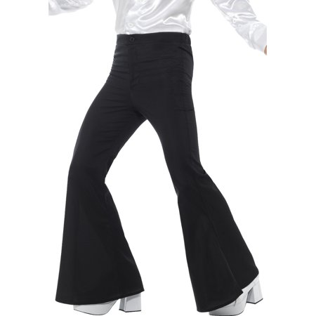 Men's 70s Groovy Disco Fever Flared Black Pants Costume X-Large 40-42
