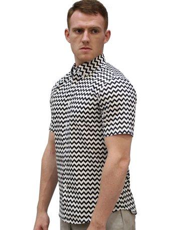 Unique bargains men 39 s zigzag print short sleeves button for 18 36 37 shirt size