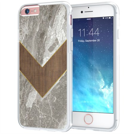 iPhone 6s Chevron Case, True Color Marble & Wood Effect Chevron Print on Clear Hybrid Cover Hard + Soft Slim Durable Protective Shockproof TPU Bumper