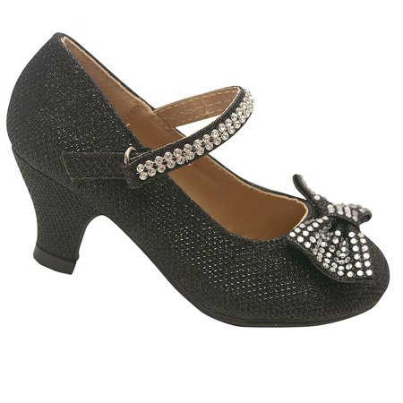 Link - Little Girls Black Sparkle Rhinestone Bow Kitten Heel Pumps 9  Toddler - Walmart.com 79465718f7b8