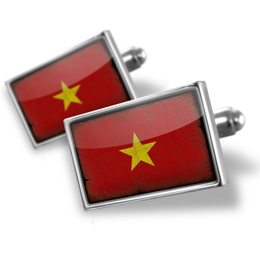 Cufflinks Vietnam Flag with a vintage look NEONBLOND by NEONBLOND