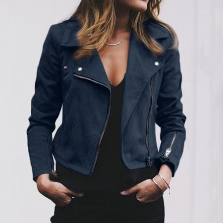 Women PU Leather Jacket Flight Coat Zip Up Biker Motorcycle Tops Clothes NEW Fashion Autumn Women Ladies Coat Blue Size S ()