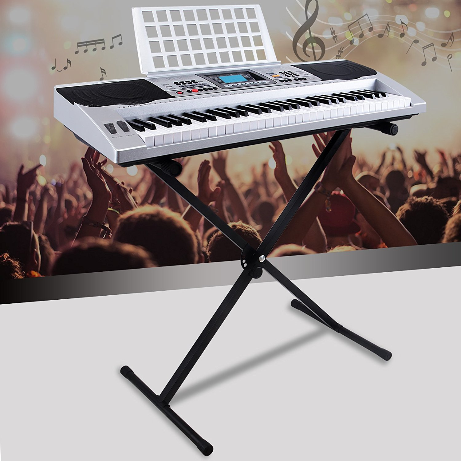 Uenjoy 61 Key Music Digital Electronic Keyboard Electric Piano Organ With X Stand,Silver