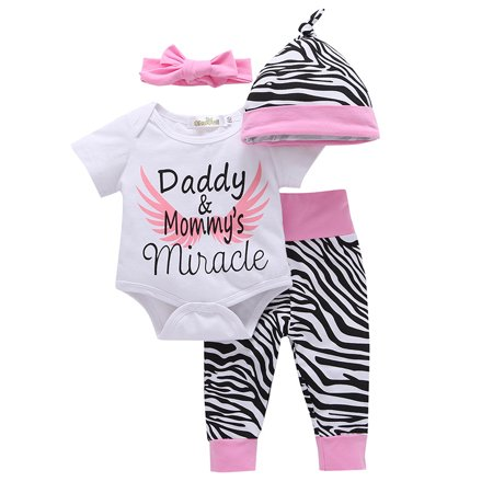 4Pcs/Set Baby Girl Clothing Set Newborn Cotton Toddler Girl Rompers Jumpsuit + Zebra Pants + Headband + Hat Outfits](Zebra Outfit)