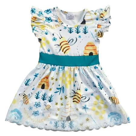 Little Girl Dress Kids Lovely Bubble Bees Lace Party Flower Girl Dress White 2T XS (201327)