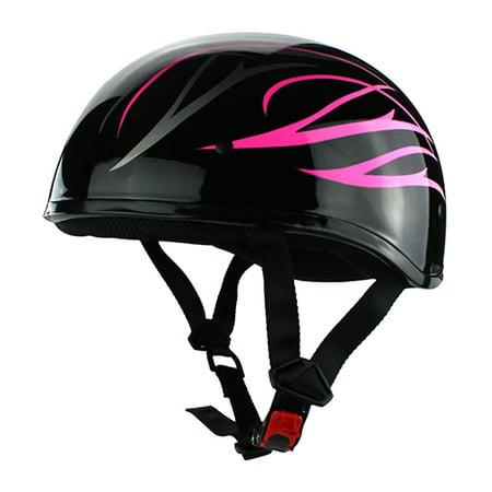 Beanie Cruiser DOT Motorcycle Half Helmet Gloss Black Pink Flames Pink Flames Half Helmet