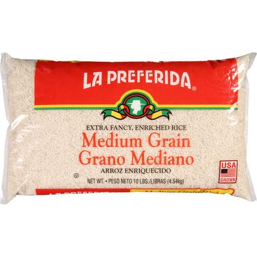 La Preferida Medium Grain Rice Grano Mediano Arroz, 10 lbs, (Pack of 4)