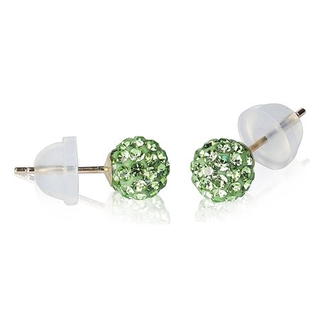 - 14k Yellow Gold 6mm Disco Ball Stud Earrings with Crystal Elements, Choice of Color