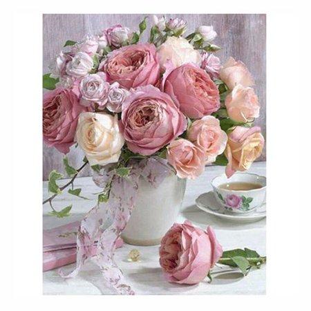 Fancyleo Pink Flower Vase Diamond Painting -  5D Full Drill Diamond Embroidery Cross Stitch Kit - Rose Diamond Dots Kits Home Decor Art Gift for Adult (11.8 x 15.7