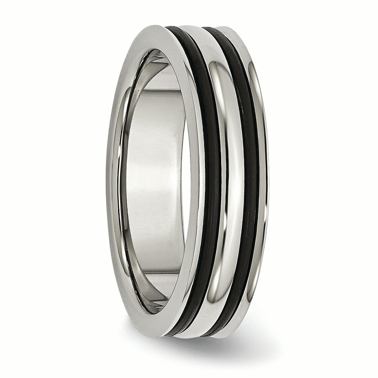 Stainless Steel 6mm Grooved and Black Rubber Band Ring 11.5 Size - image 4 de 6
