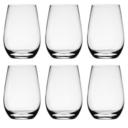 Stolzle (Set of 6) Stemless Wine Glasses, White Wine Glasses Of German Crystal For Home, Dining Table, Kitchen, Wine Set, 15.75 Ounces