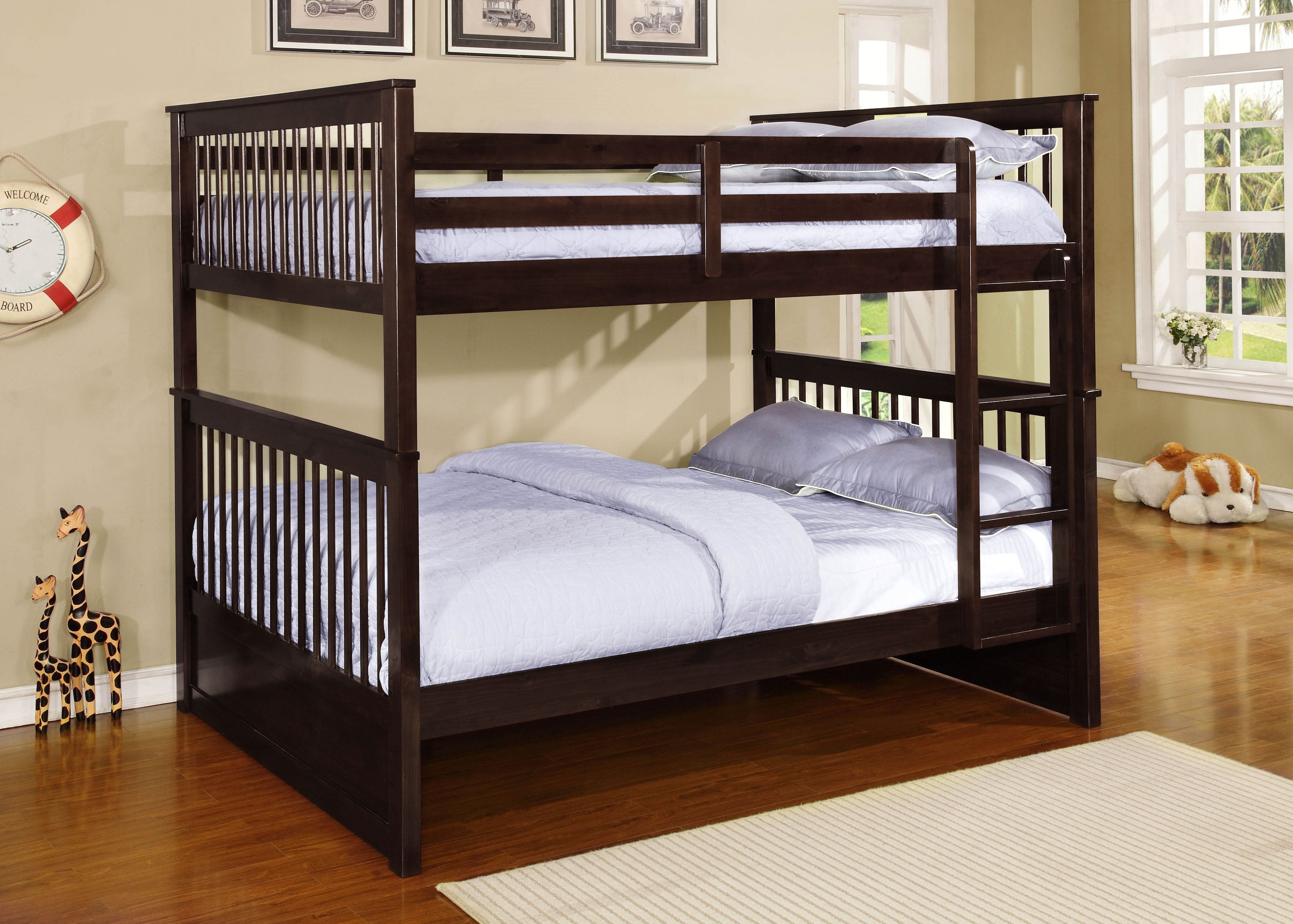 Full Size Espresso Finish Wood Slat Bunk Bed (Full Over Full Bunkbed) by unknown