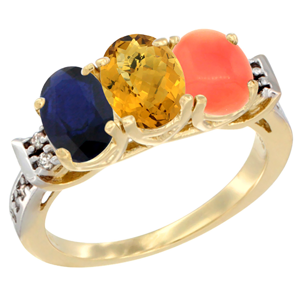 10K Yellow Gold Natural Blue Sapphire, Whisky Quartz & Coral Ring 3-Stone Oval 7x5 mm Diamond Accent, sizes 5 10 by WorldJewels