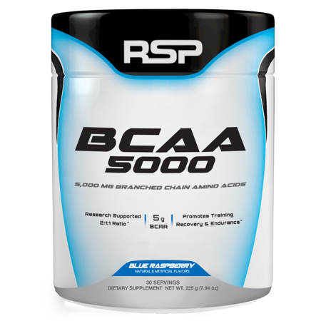 RSP Nutrition BCAA 5000 BCAA Powder, Post Workout, Muscle Recovery, Endurance & Energy, Blue Raspberry, 30s, Multiple Flavors
