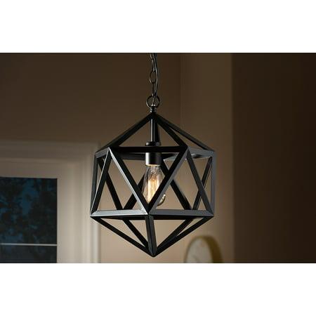 Baxton Studio Ginessa Modern and Contemporary Black Metal Geometric Pendant Light
