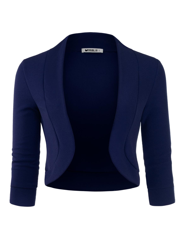 Doublju Women's Open Front Cardigan Short Sleeve Plus Size Office Cardigan ASHBROWN S