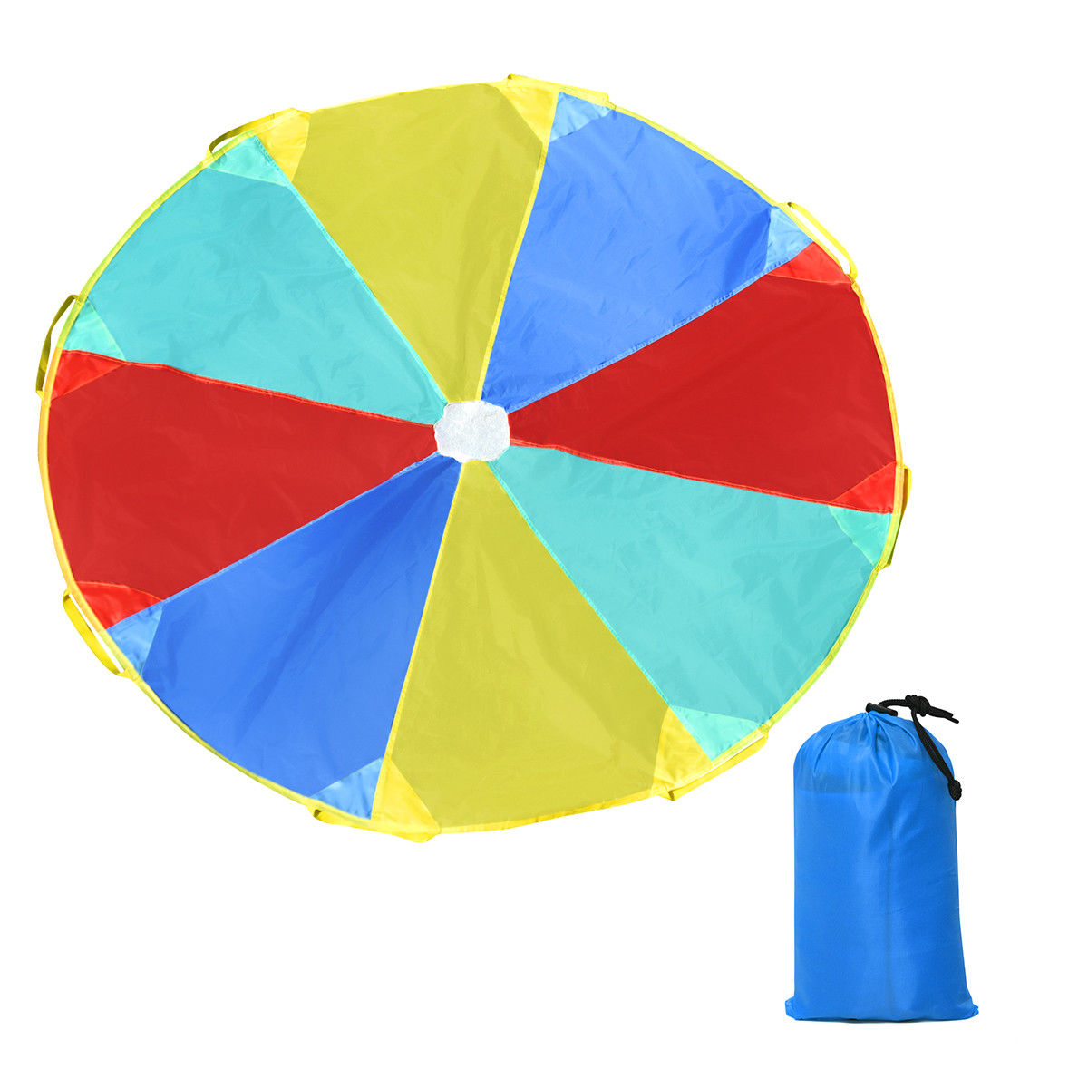 GHP 6Ft Red/Yellow/Blue/Green 190T Polyester Fabrics 8-Handle Foldable Parachute w Bag